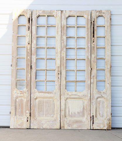 Set of Washed Wood Doors with Transom