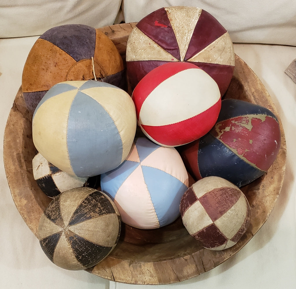 Set of 9 Antique Oil Cloth Balls