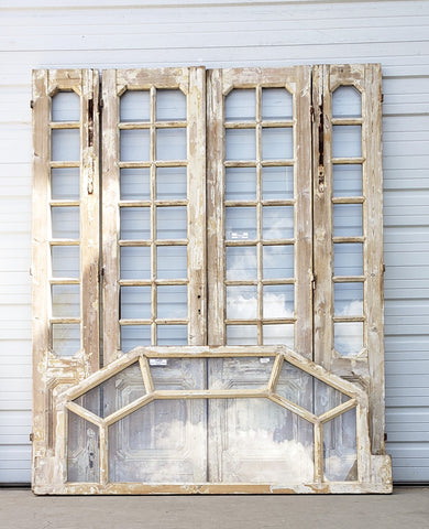 Set of Washed Wood Doors with Transom Window