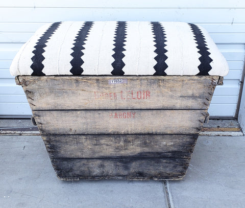 Black and White African Print Champagne Crate Ottoman