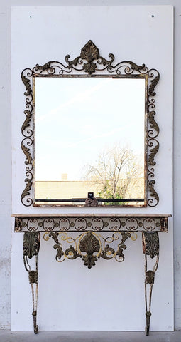 Iron Wall Console with Marble Top and Mirror