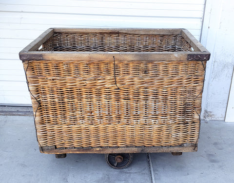Parisian Wicker Rolling Cart