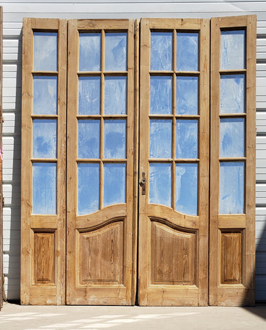 Set of 4 Wood French Doors with 8 Mirrored Panes