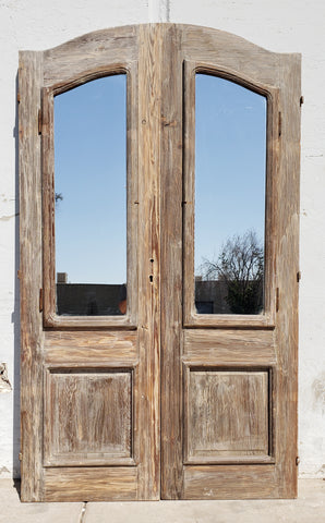 Pair of Wood French Doors with One Mirrored Pane and Carved Panels