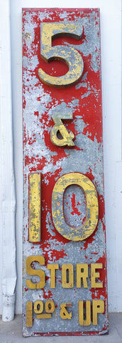 "Antique ""5 & 10 Store"" Metal Sign"