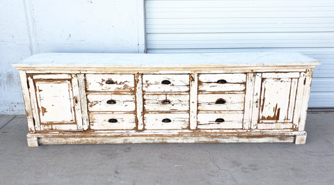 Washed Sideboard with Marble Top