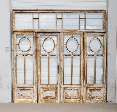 Set of 4 Washed Wood Doors with Circle Lites