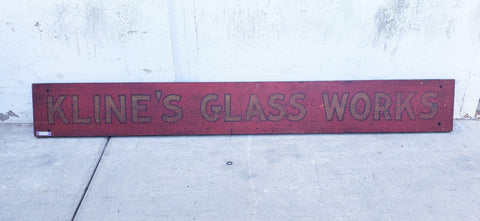 Old Wood Painted Glass Works Sign