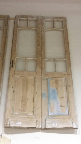Pair of 5 Pane French Doors (4 small & 1 large) and Wood Inset