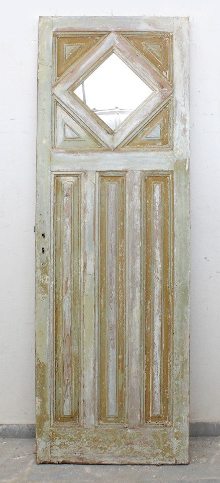 Wooden Panel Door with Diamond Shaped Glass