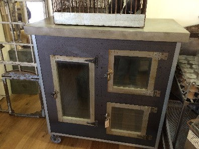 Industrial Metal Cabinet With Concrete Top