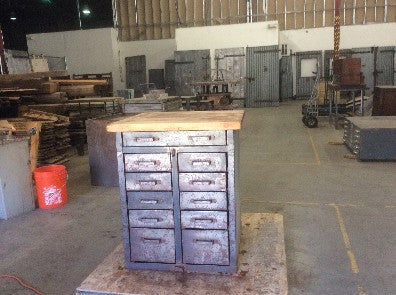 Cabinet, Butcher Block top, multiple small drawers