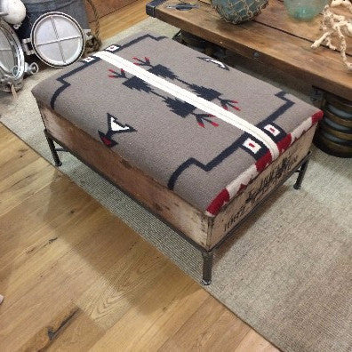 Raisin Box Ottoman with Navajo Top
