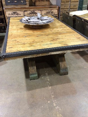 Table, Reclaimed Wood Top, 4 Green Wood Bases