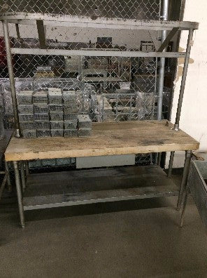 Stainless Steel Kitchen Island with Wood Top