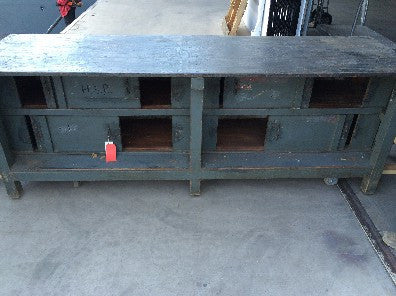 Cabinet/ Console Table; Industrial Greenish Blue