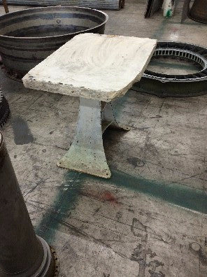 Side table with Lithostone top, Base of Cast Iron