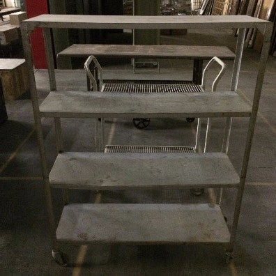 Shelving unit, metal, 4 shelves on wheels