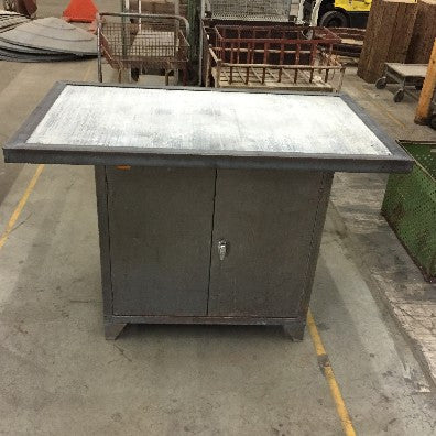 Cabinet, metal with concrete/steel framed top