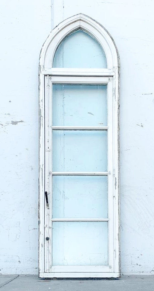 Painted Wooden Window with Gothic Arched Top