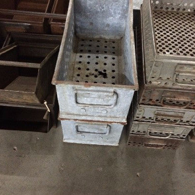 Bin metal with holes throughout bottom, 2 handles