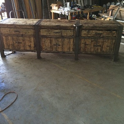 Antique Wooden and Iron Workbench