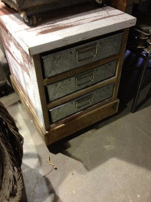 Cabinet, wood with 3 drawers galvanized metal