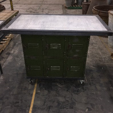 Green Rolling Lockers with Concrete Top
