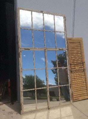 20 Pane Repurposed Rectangular Iron Mirror