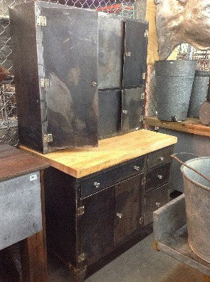 Steel Kitchen Hutch w/ Butcher Block