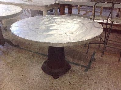 Table with Round Riveted Top and Industrial Iron Base