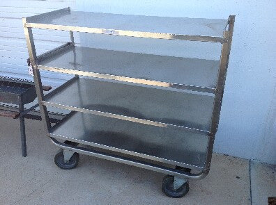 Aluminum Rolling Trolley with 4 Shelves