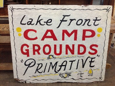 Double Sided Wood Sign, Lake Front Camp Grounds