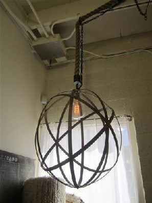 Ornate Metal Sphere Pendant Light
