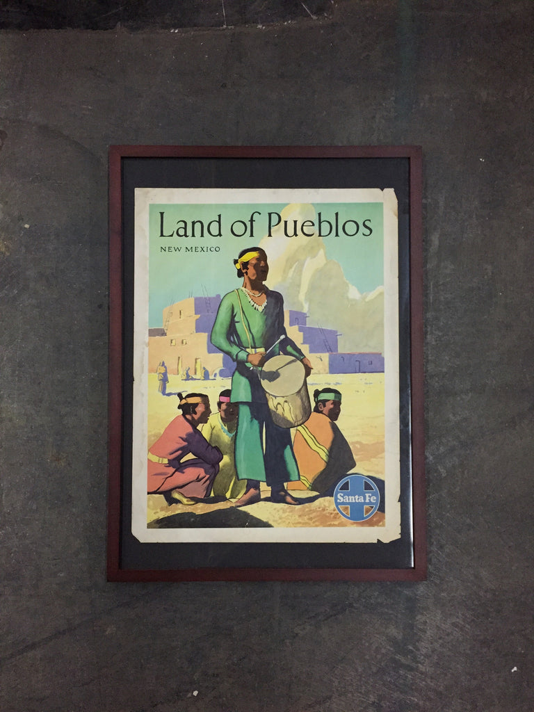 "Framed Art Vintage Santa Fe Railroad Poster, ""Land of Pueblos, New Mexico"""