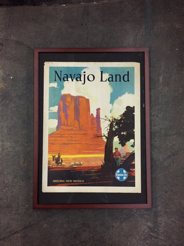 "Framed Art Vintage Santa Fe Railroad Poster, ""Navajo Land"""