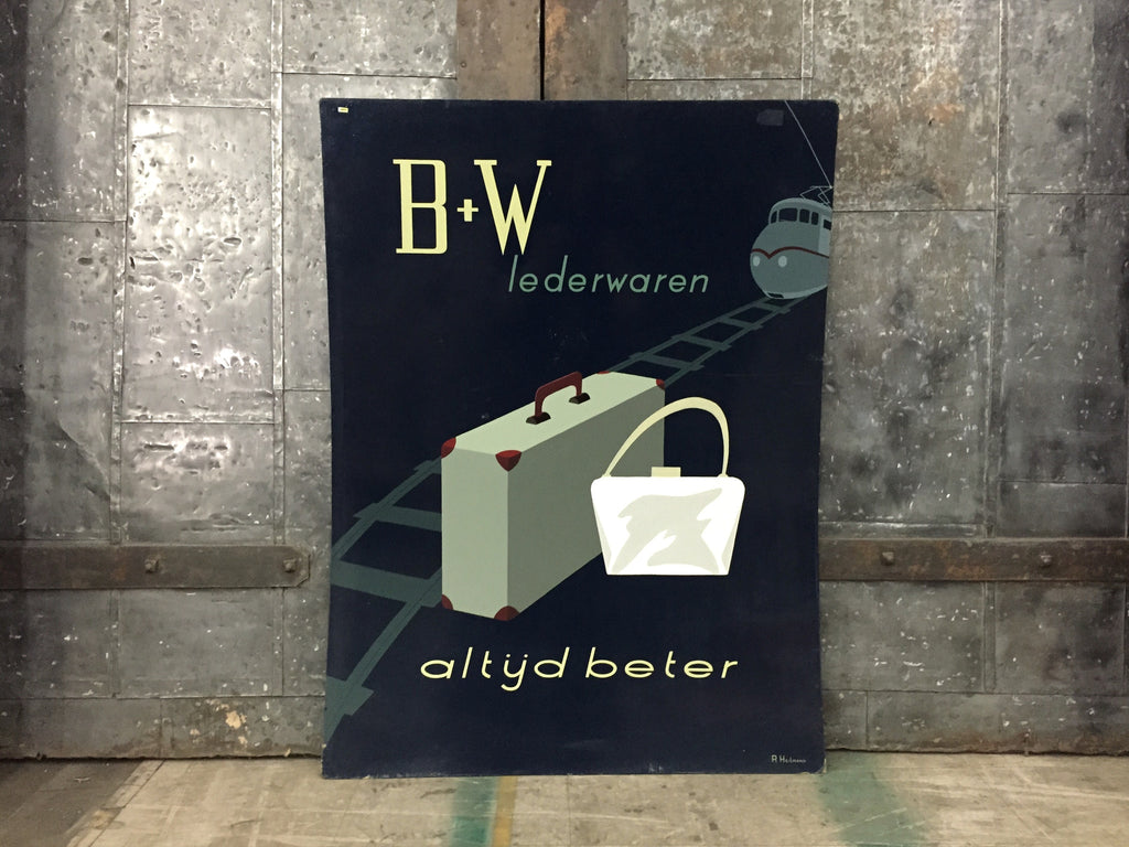 "Dutch Advertising Sign, ""B+W lederwaren"""