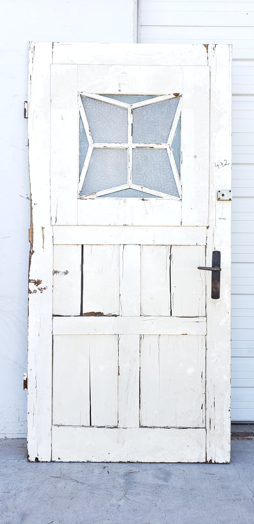 Antique Painted Diamond Lite Single Wood Door