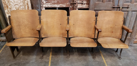 4 Wood and Iron Theatre Seats