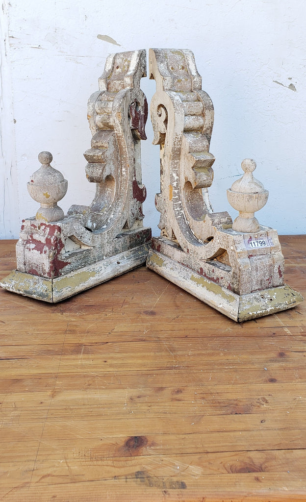 Pair of Ornate White Wood Corbels