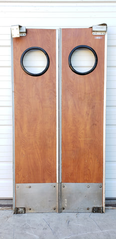 Pair of Restaurant Doors with Circle Windows