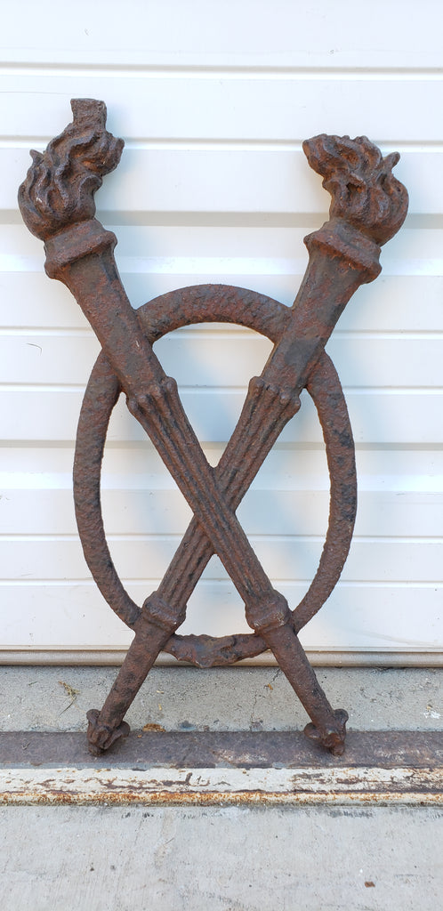 Crossed Torch Iron Wall Hanging