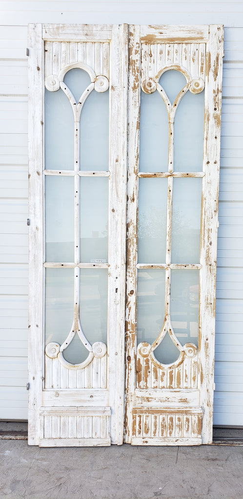 Pair of Wood Doors with Decorative Glass Panes