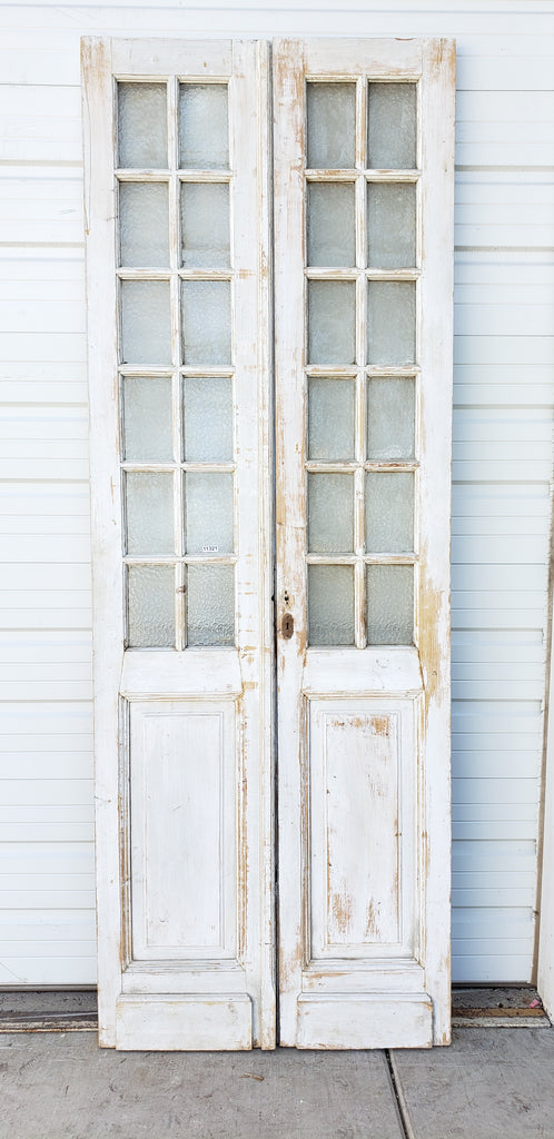 Pair of Wood Doors with 12 Glass Panes Each