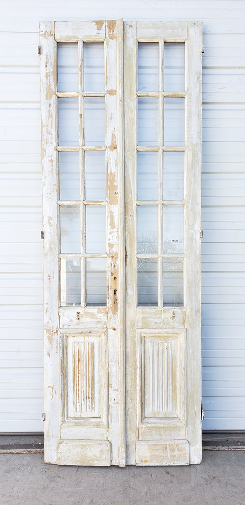Pair of Wood Doors with 10 Glass Panes Each