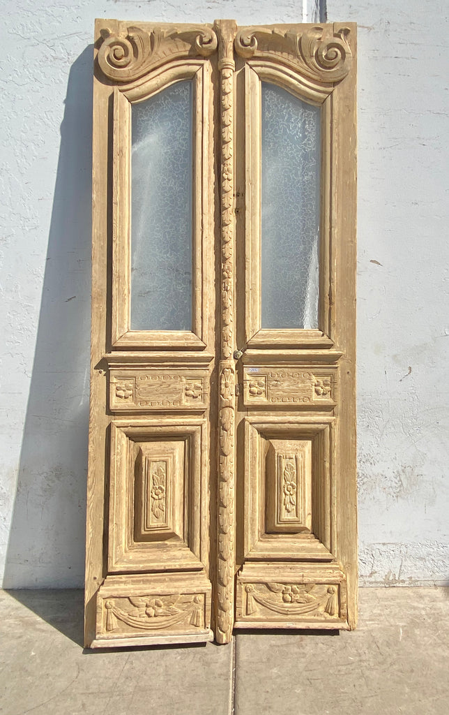 Pair of Ornate Carved Wood Antique French Doors
