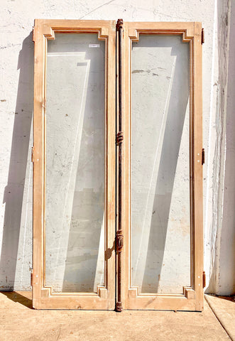 Pair of Antique Square Detail Natural Wood Windows