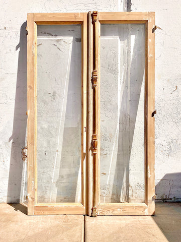 Pair of Antique Washed Wood Windows