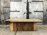 Reclaimed Wood Coffee Table with Workbench Top