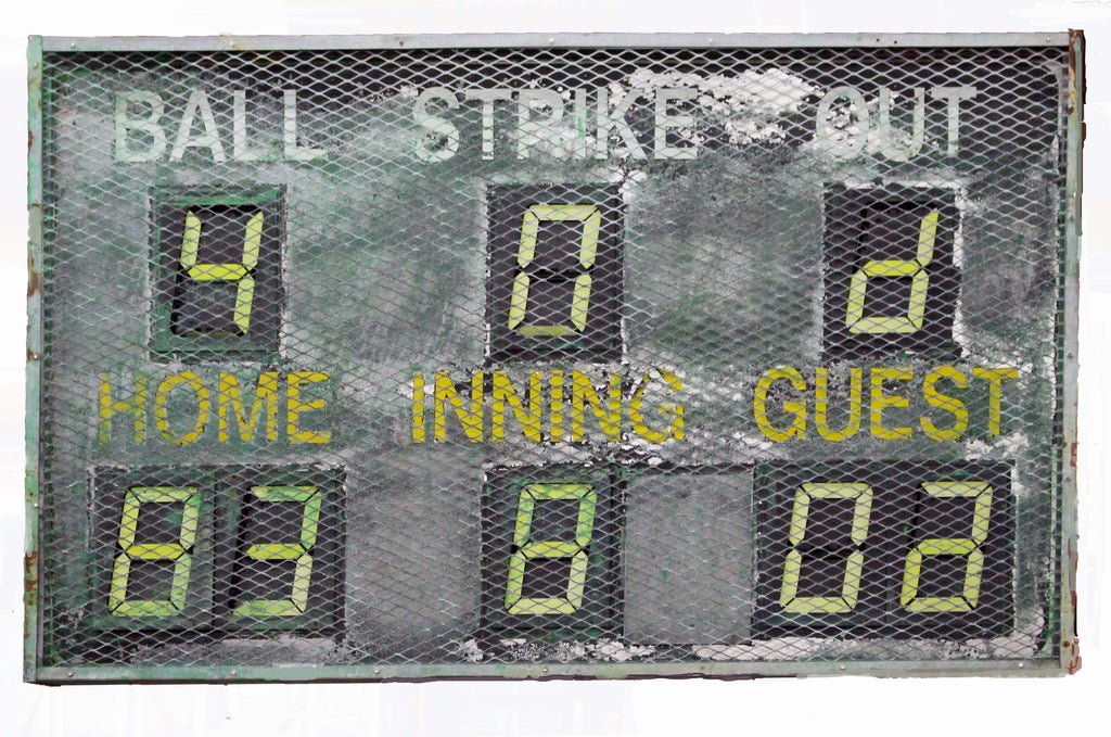 Baseball Scoreboard Metal Sign